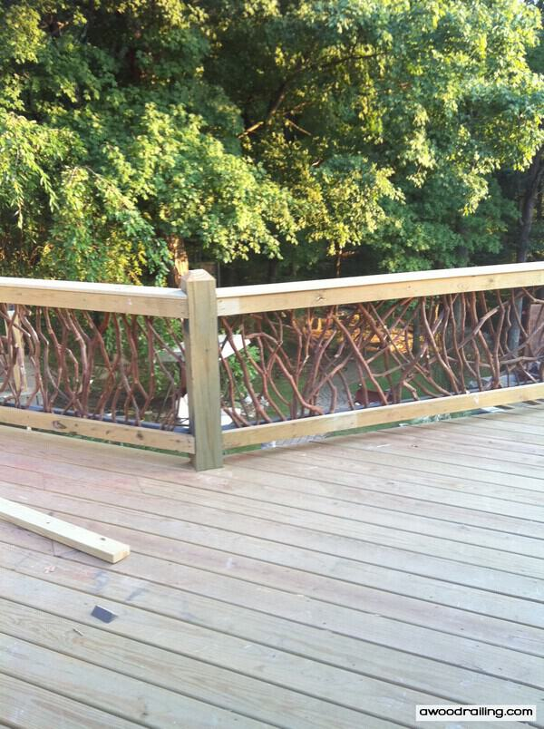 Rustic Deck Railings http://awoodrailing.com/2010/09/27/rustic-wood-handrails-for-your-home/