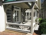 timber frame porch decorative railing