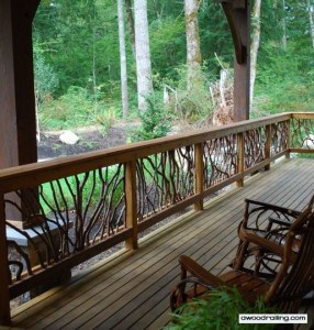 porch railing with furniture