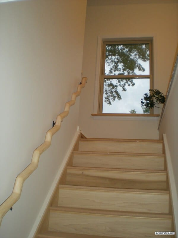 Wavy Wood Banister Installed