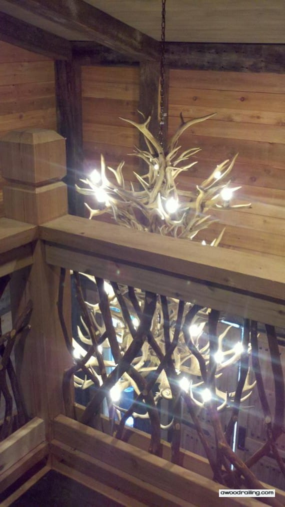 Rustc Railing and Antler Chandelier