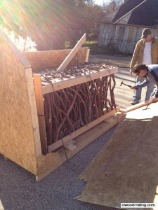 opening a crate with Mountain Laurel Handrails