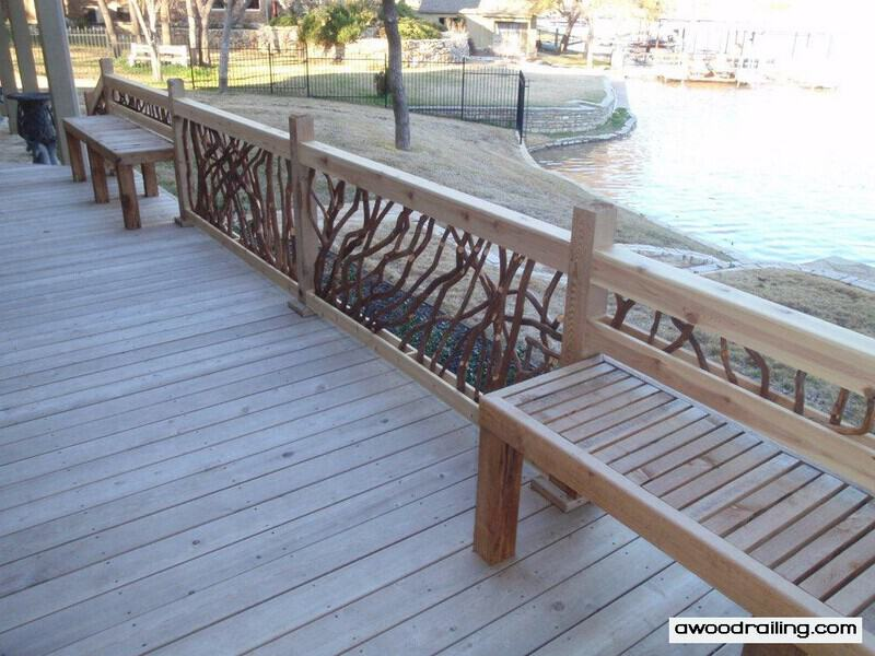 Deck railing for texas lake house hot tub built in for Garden decking handrails