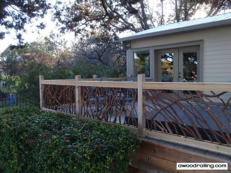 Rustic Deck Railings http://awoodrailing.com/2012/09/12/deck-railing-texas-lake-house/