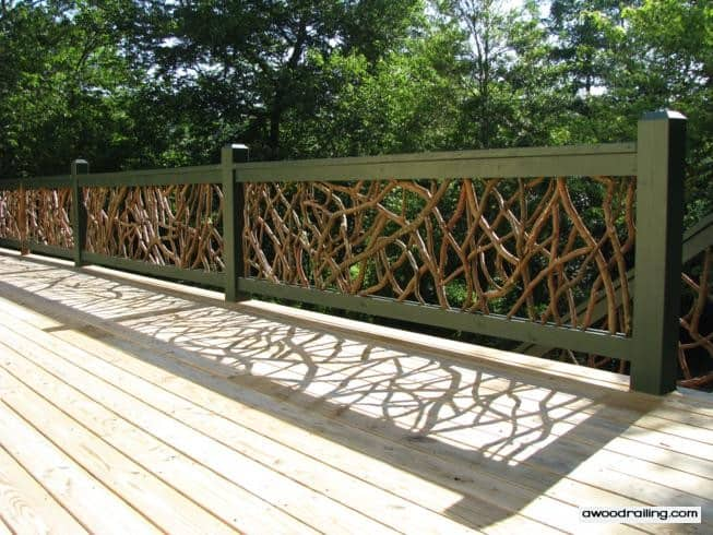 Mountain laurel deck railing installed on a deck in north for Garden decking banister