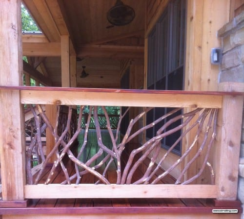 Hewn Log Porch Railing