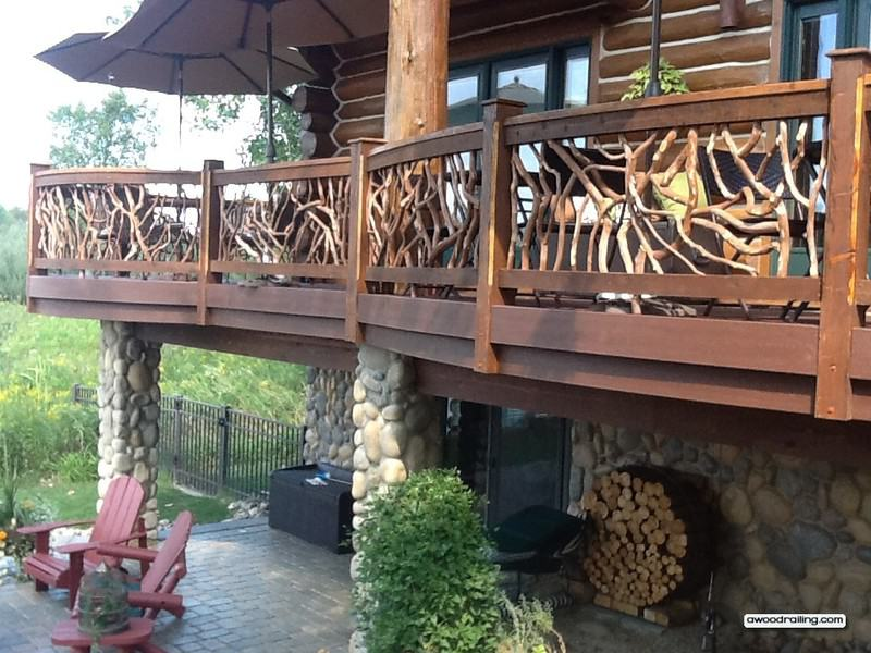 Gorgeous Curved Deck Railing Installed On Log Home Circular Deck