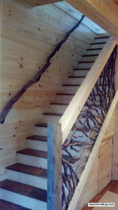 Rustic Mountian Stair Railings: Mountain Laurel Branch Banister