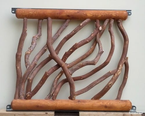 Custom Log Railing with Metal Brackets