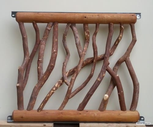 Railing with White Cedar Logs Stained Mahogany Flame