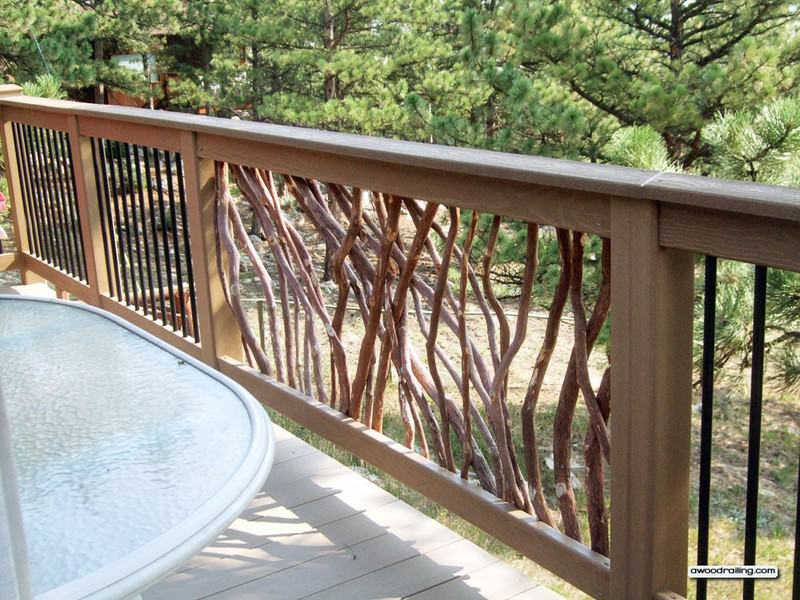 Deck railing with composite lumber and branch and metal for Composite deck railing