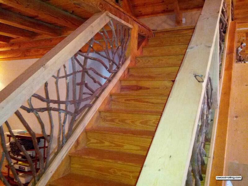 rustic stair railing deck railing mountain laurel. Black Bedroom Furniture Sets. Home Design Ideas