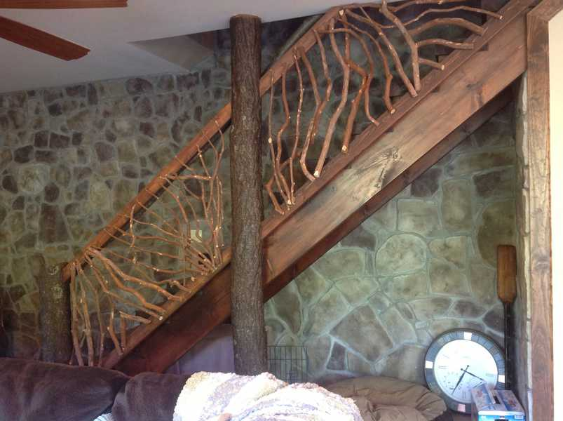 rustic handrails for the home options and materials for. Black Bedroom Furniture Sets. Home Design Ideas