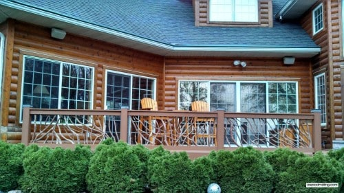 Deck Handrail on Log Home