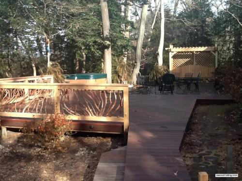 Deck Railing and Hot Tub