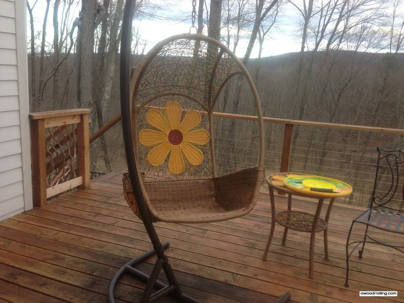 Hanging Chair with Deck Railing