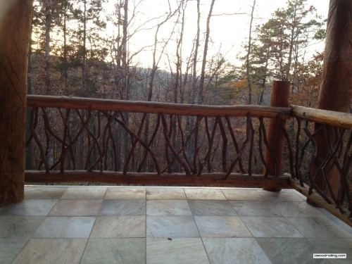 Log Railing with Forest View