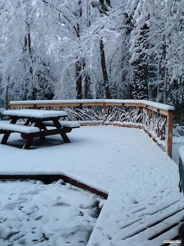 Snowy Railing and Picnic Table