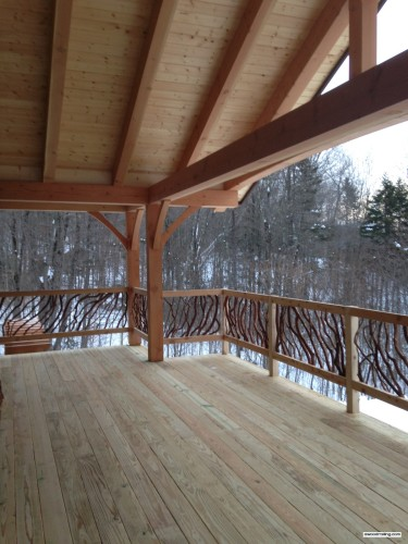 Vermont Timber Frame Deck Railing