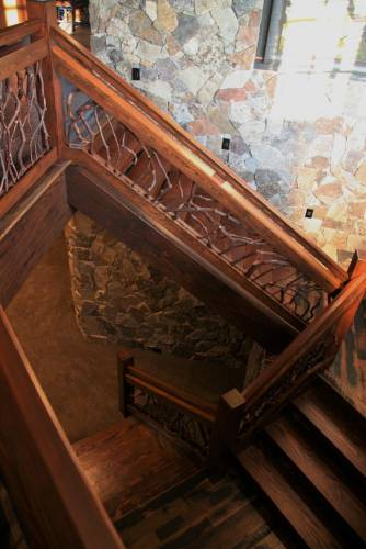 Wood Stair Railing Stone Staircase