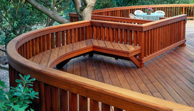 100s of deck railing ideas and designs 4x6 beam railing with 2x4 balusters and bench baanklon Gallery
