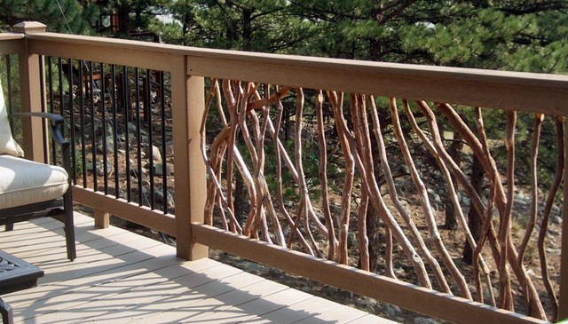 Branch railing and metal balusters deck railing for Deck railing materials