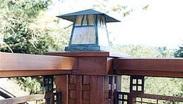 Craftsman Style Railing with Post Cap Light