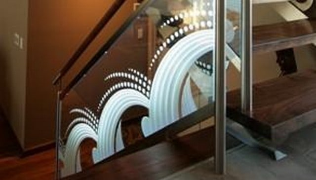 Glass Panel Railing with Etched Design