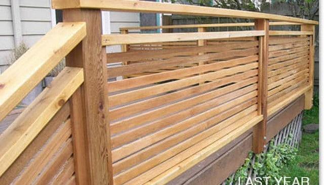 Horizontal Wood 1x2 Slat Privacy Handrail