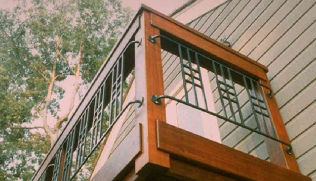 Ipe framed railing with craftsman metal panels deck for Balcony handrail