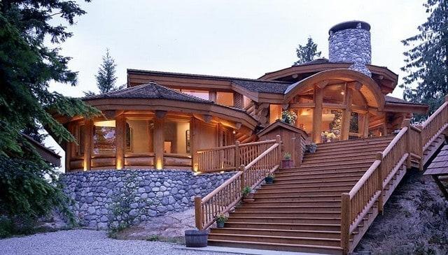 log-stair-railing