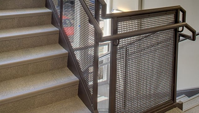 Metal mesh guard with pipe rails deck railing mountain