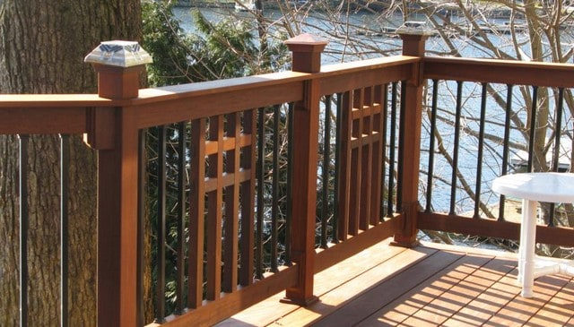Mission Style Wood Balusters Mixed With Metal Deck