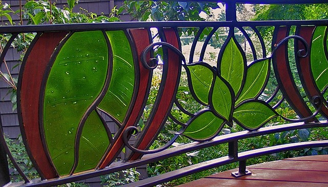 Stained Glass Leaf Motif Wrought Iron Railing Deck