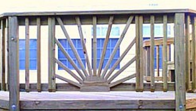 Sunburst Design with Vertical 2x2 Balusters