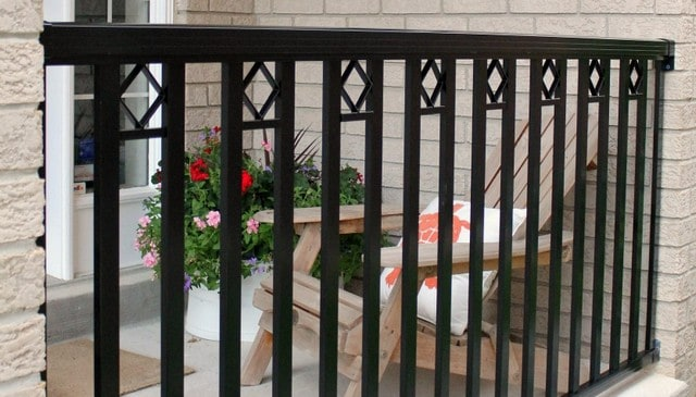 Vertical metal balusters with diamonds deck railing