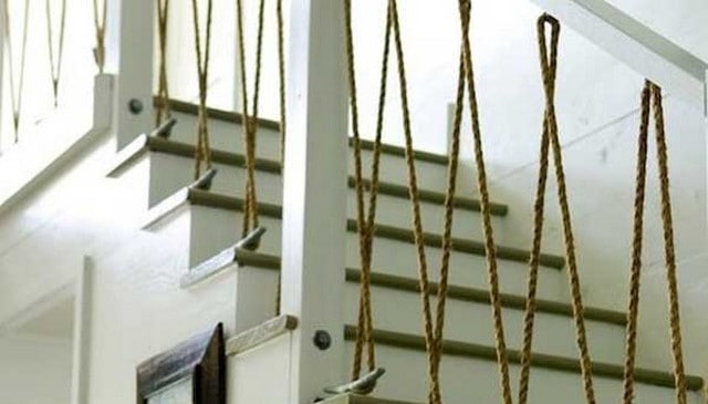 vertical rope railing with boat cleats deck railing