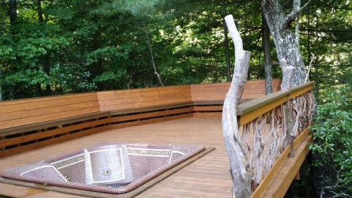 Bench and Branch Railing for Hot Tub Deck