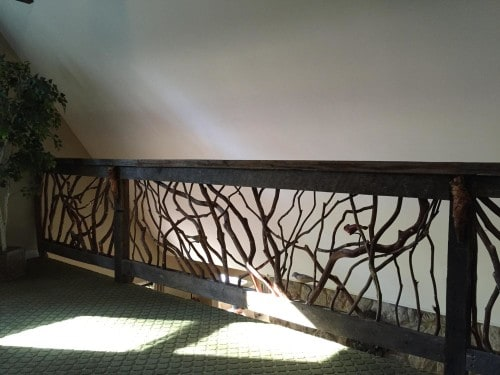 Mountain Laurel Handrail with Carved Birds
