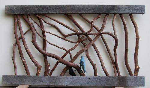 Bluebird in Branch Railing
