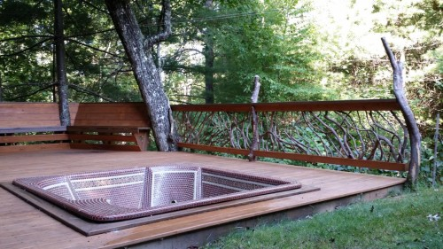 Branch Handrails for Hot Tub