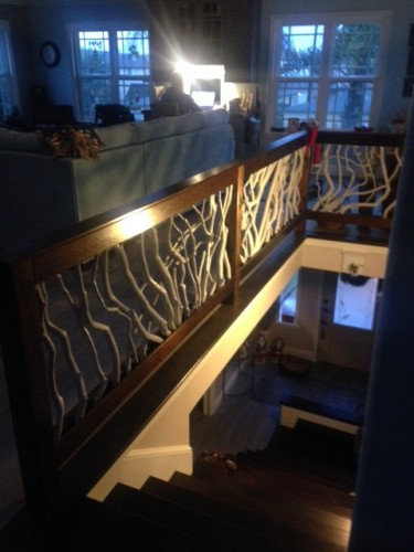 Dark Walnut Stained Wood Railing with Painted Branches