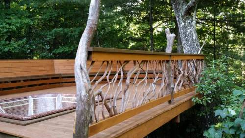 Deck with Bench Railing