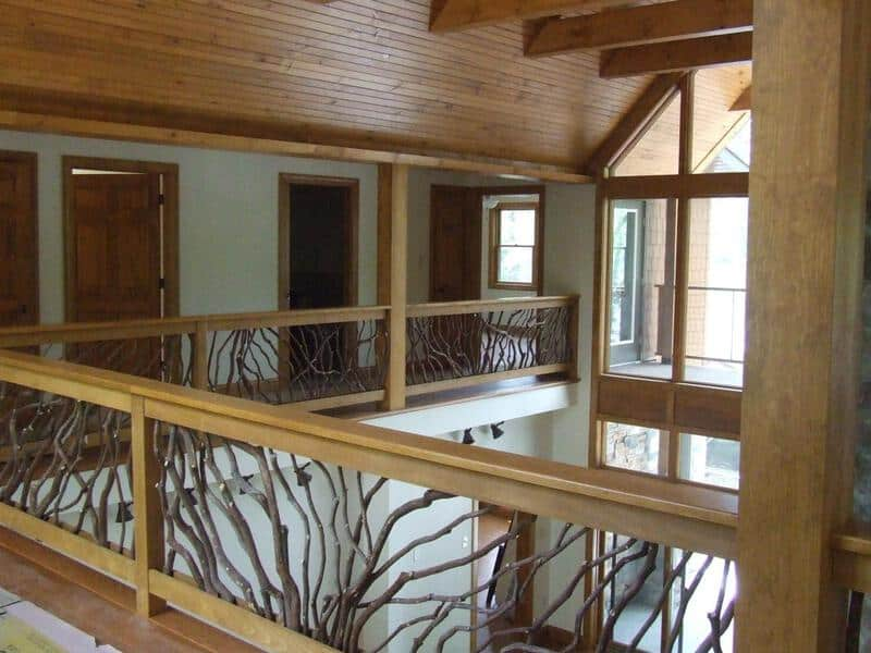 Interior balcony handrail deck railing mountain laurel for Inside balcony railing
