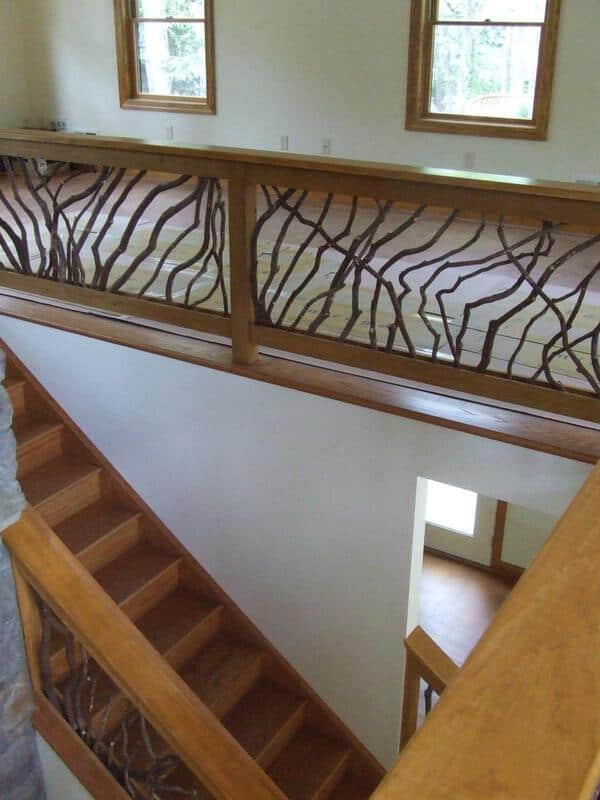 Interior guardrail on stairs deck railing mountain for Indoor balcony railing
