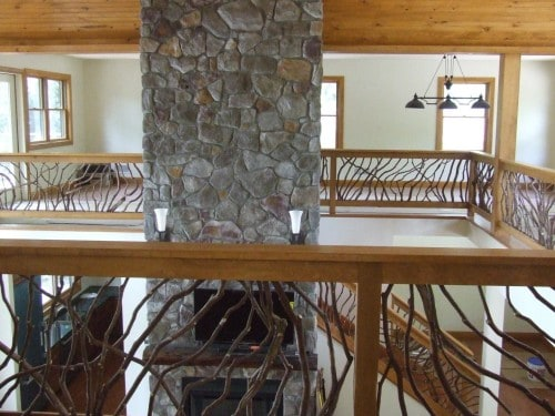 Interior Railing Stone Fireplace