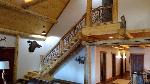 Log Stairs Branch Railing