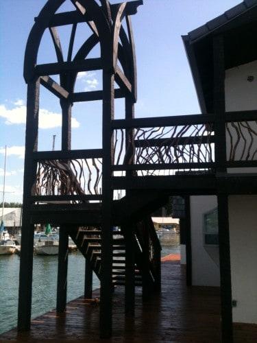 balcony-railing House Boat Timber Frame Handrail