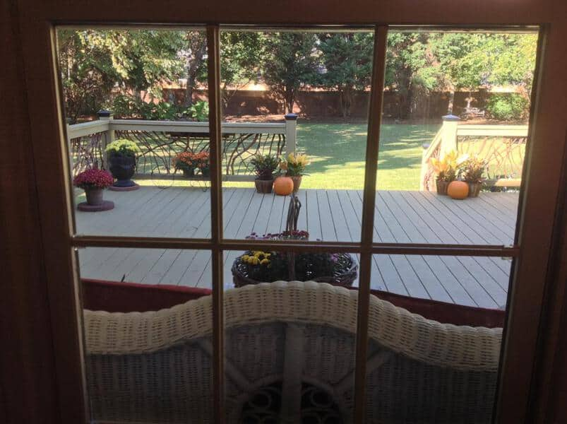 Deck Railing with Fall Decorations