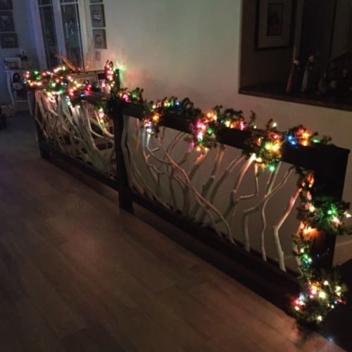 Railing with Christmas Lights